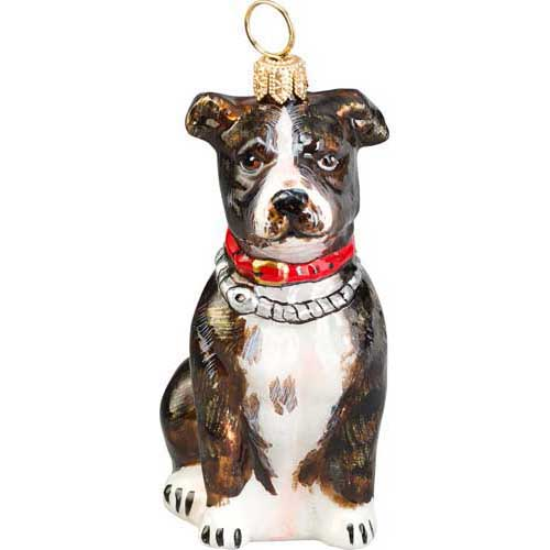 Dog themed christmas ornaments - American Staffordshire Terrier Brindle