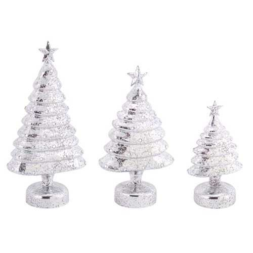add a classy simple alluring style of elegant marbleized silver mercury glass christmas trees table top pieces that is sure to impress - Mercury Glass Christmas Trees